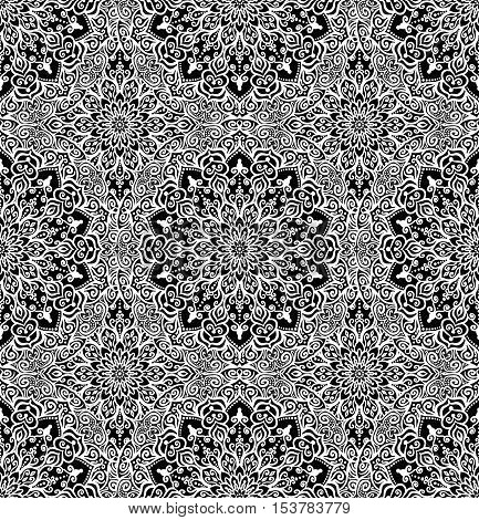Blue pattern. Seamless flower background. Flourish vector. Intricate floral ornament. Black white illustration. Decorative fabric print, furniture textile, wallpaper. Round mandala design elements.