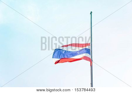 Lowering the flag Thailand at half-mast to mourn