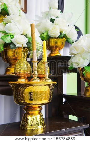 Incense altar worshiping n saluting ritual worship or prayers in the tradition Thailand.