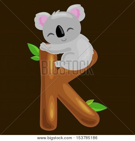 koala animal and letter K for kids abc education in preschool.Cute animals letters english alphabet. Cartoon animals alphabet for learning letters vector illustration. Single letter with wild animal koala
