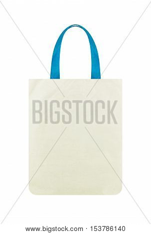 White fabric bag isolated on white background