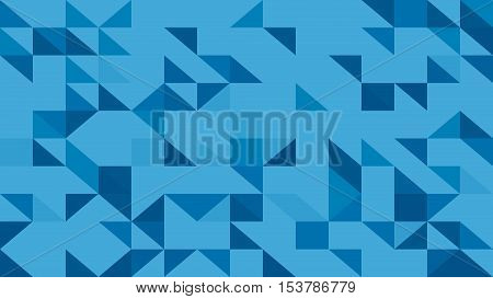 Abstract Blue Lowploly Of Many Triangles Background For Use In Design