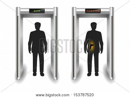 Portal frame metal detector controls for the airport or customs. Vector graphics