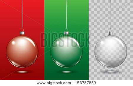 Vector christmas glass balls on transparent background. Xmas ball decoration template can use any colour background