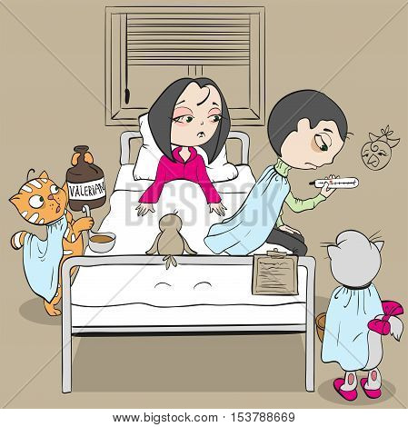 Woman patient on bed and doctor. Cat medic gives valerian. Fun vector cartoon illustration