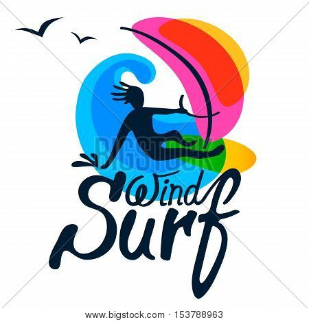 Windsurfer on windsurfing board with sail, wave and seagull on white background, logo vector template. Cartoon, flat style, silhouette, lettering.