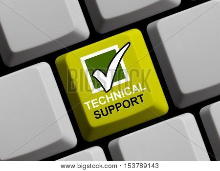Blue computer keyboard is showing Technical Support