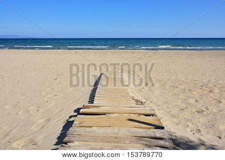 The end of the holiday season the empty Artemis sandy beach one from most popular resort in Attica