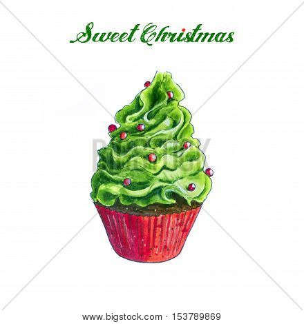 Christmas green Cupcake Hand Drawn sketch. Isolated on white