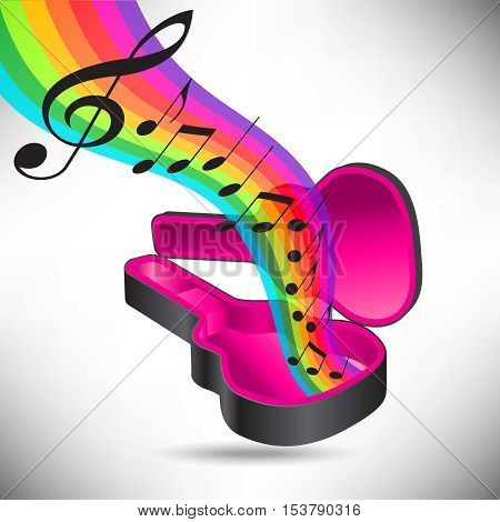 A rainbow of music flows from a guitar case in this music graphic