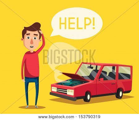 Broken car. Vector cartoon illustration. Need help. Car with open hood. Unhappy man. Human character