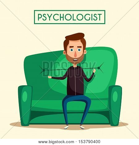 Patient talking to psychologist. Cartoon vector illustration. Psychotherapy counseling. Man dealing with stress. Psychology cabinet with sofa. Male character.