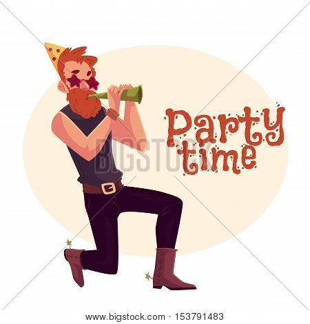 Young hipster in star glasses and cowboy boots standing on one knee and blowing into birthday horn, cartoon vector illustration isolated. Greeting card, poster, banner design for birthday party