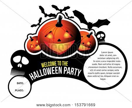 Halloween background for invitations and stickers with pumpkins, skulls, bats and place for text