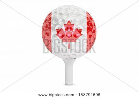 golf ball on a tee with flag of Canada 3D rendering isolated on white background