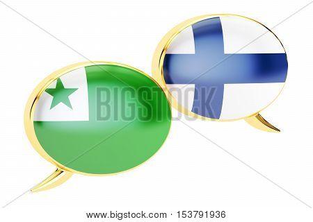 Speech bubbles Finnish-Esperanto conversation concept. 3D rendering