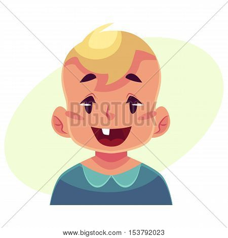 Little boy face, wow facial expression, cartoon vector illustrations isolated on yellow background. Blond male kid emoji face surprised, amazed, astonished. Surprised, wow face expression