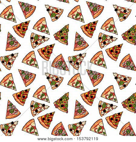 Seamless pattern of various pizza slices, sketch style vector illustration. Textile, wrapping paper, print design for Italian pizza cafe, restaurant, fast food. Seamless background with pizza slices