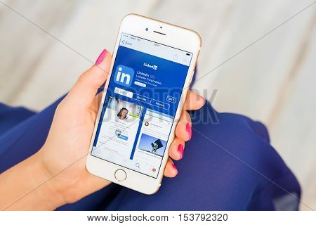 RIGA LATVIA - SEPTEMBER 8 2016: LinkedIn app on App Store. LinkedIn is a business and employment-oriented social networking service.