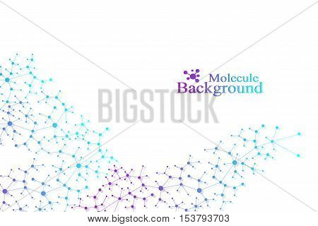 Structure molecule atom dna and communication background. Concept of neurons. Connected lines with dots. Illusion nervous system. Medical scientific illustration backdrop