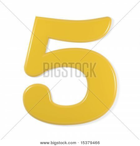 yellow font - number 5