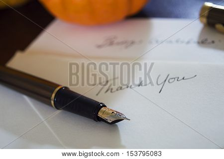 Thank you words written by hand on high quality white card stock writing thanksgiving gratitude messages to friends, family and business partners for a personal touch with elegant calligraphy fountain pen