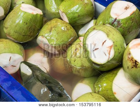 Group of topical coconuts for sale in market.