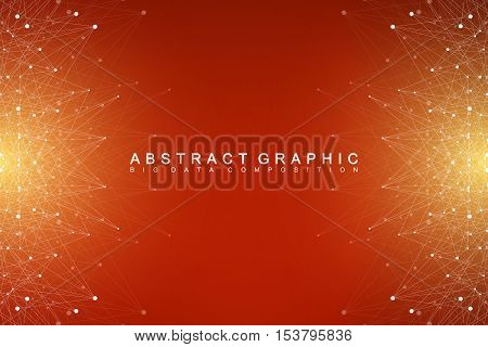 Big data complex. Graphic abstract background communication. Perspective backdrop of depth. Minimal array with compounds lines and dots. Digital data visualization. Big data vector illustration