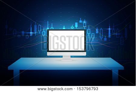 Computer blank screen on white table with blue theme background about stock market concept. Ideal for mock up and other.