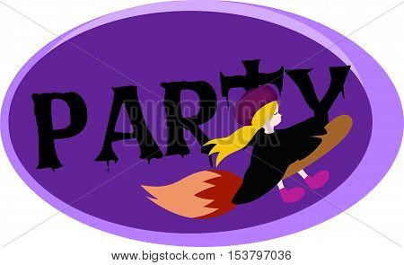A witch riding paintbush broomstick going to once in a lifetime witch party.