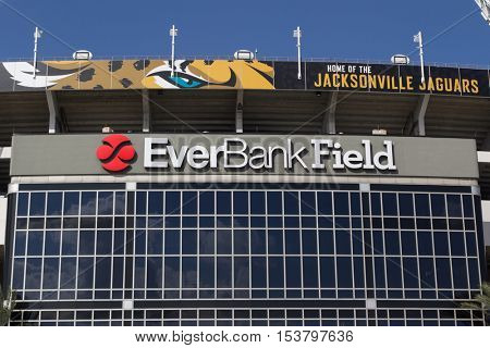 JACKSONVILLE, FL - OCTOBER 26, 2016: Close up of EverBank Field in Jacksonville. EverBank Field is an American Football Stadium in downtown Jacksonville, Florida.