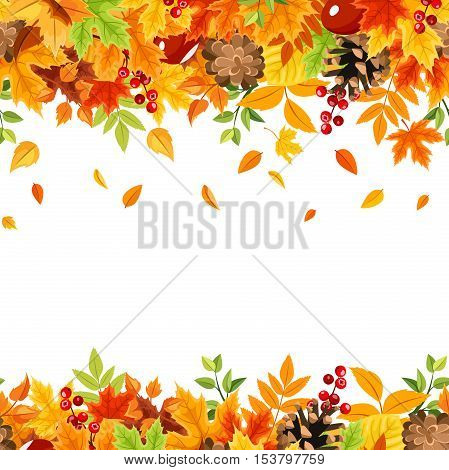 Vector horizontal seamless frame with colorful falling autumn leaves on a white background.