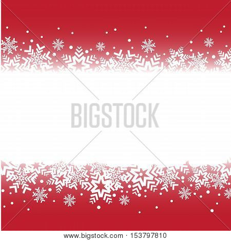 Bright red background with snowflakes. snowfall winter pattern. Snow falling illustration for Christmas design