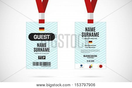 Event Guest id card set with lanyard. vector design and text template illustration