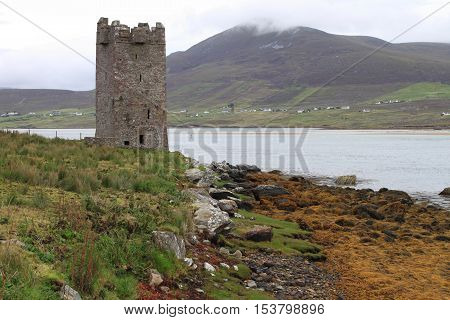 Kildavnet castle in Achill Island. County Mayo, Ireland