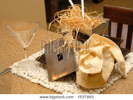 Table Place Setting With Napkin And Straw