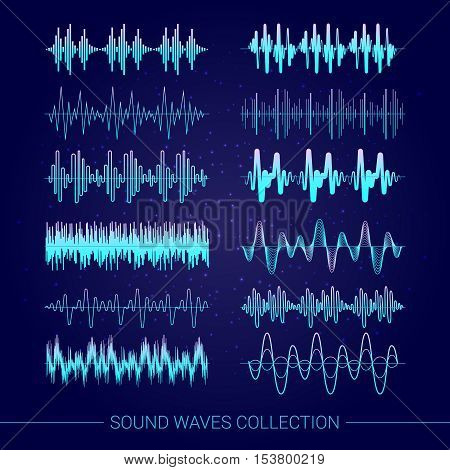Sound waves collection with audio symbols on blue background flat isolated vector illustration
