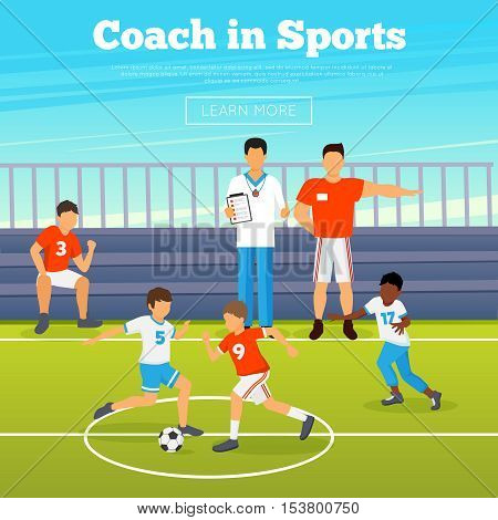 Kids sport poster with children playing in football and coaches training them vector illustration