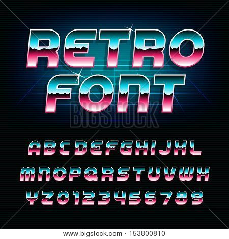 80's retro alphabet font. Metallic effect shiny oblique letters and numbers. Vector typeface for flyers, headlines, posters etc.