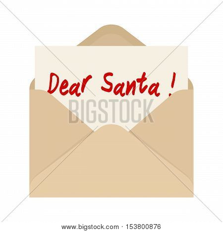Dear Santa card in brown envelope. The letter pulled out from an envelope. Isolated on white background