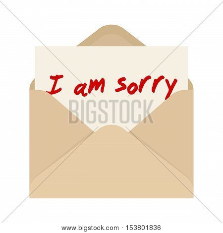 I am sorry card in brown envelope. The letter pulled out from brown envelope