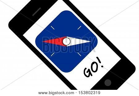 Mobile app with compass needle and word Go. Diagonally oriented. Isolated on white background. Can also be used for communication and connection technology. Suitable for mobile apps web apps and printed media