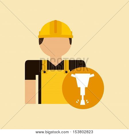character construction man with jackhammer vector illustration eps 10