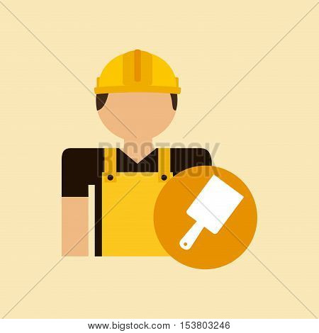character construction man with tool box brush vector illustration eps 10