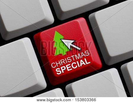 Red computer keyboard showing Christmas Special symbol