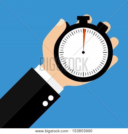 Hand holding Stopwatch showing 1 Second or 1 Minute - Flat Design