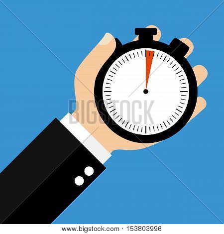 Hand holding Stopwatch showing 2 Seconds or 2 Minutes - Flat Design