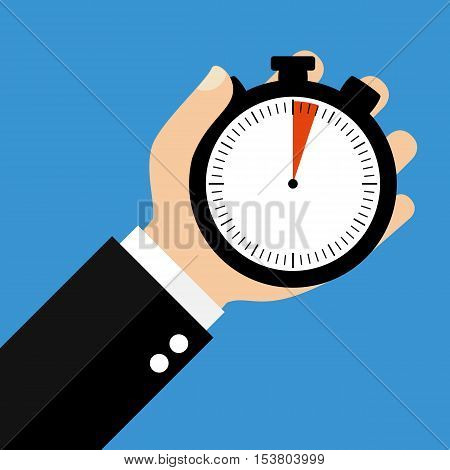 Hand holding Stopwatch showing 3 Seconds or 3 Minutes - Flat Design