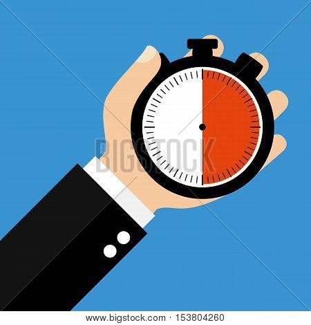 Hand holding Stopwatch showing 30 Seconds 30 Minutes or 6 Hours - Flat Design