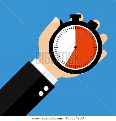 Hand holding Stopwatch showing 35 Seconds 35 Minutes or 7 Hours - Flat Design